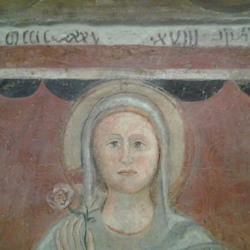 dettaglio superiore Immagine della Vergine Maria