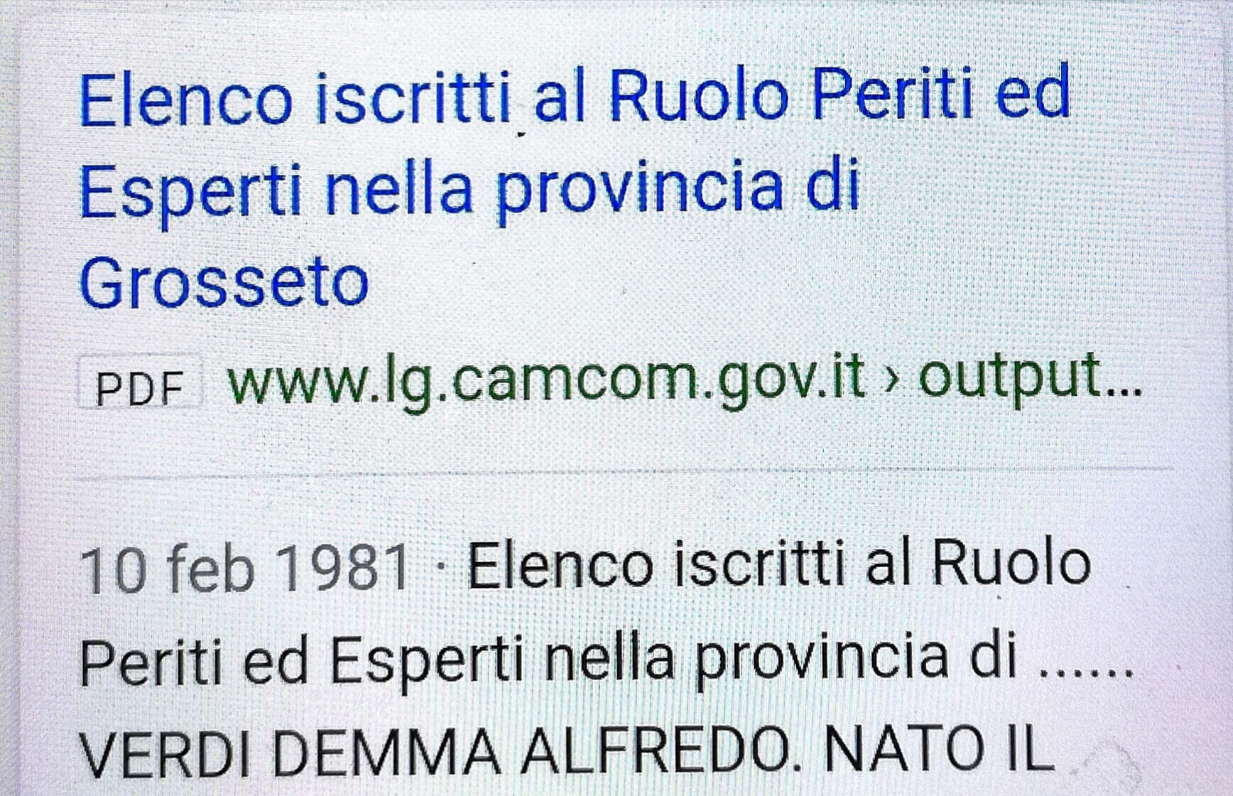 Elenco iscritti Ruolo Periti ed Esperti