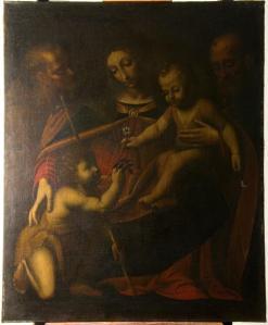 Sacra Famiglia con Giovannino e santi luceradente