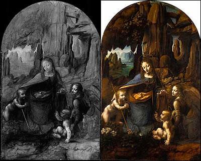 La Vergine delle rocce, Leonardo Da Vinci. L'immagine dell'IRR mostrava due diversi sottotitoli sotto il dipinto reale.