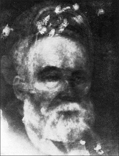 Radiografia del vecchio, dipinto di Mildred Peel, olio su tela, 1904