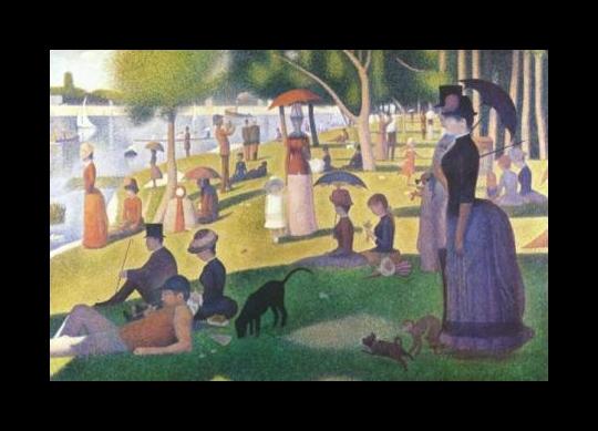 Una domenica pomeriggio sull'isola della Grande Jatte, di Georges Seurat, 6 piedi 9 pollici X 8 piedi 10 pollici